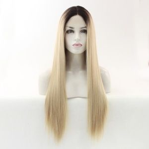 "24"" Ombre blonde middle part lace front wigs"